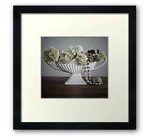 Vase with Flowers, Shells and Dolls Heads (Quite Contrary} Framed Print