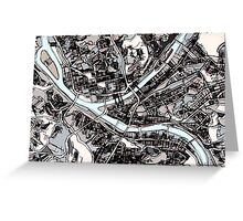 Abstract Map of Pittsburgh PA Greeting Card