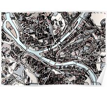 Abstract Map of Pittsburgh PA Poster