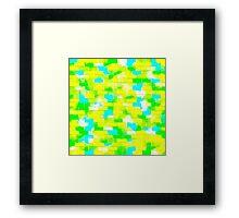 BRICK WALL SMUDGED (Greens, Yellow & Light Blues)-(9000 x 9000 px) Framed Print