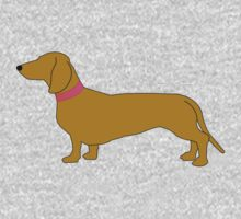 Short haired sausage dogs pink collar - white Kids Tee