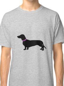 Black Sausage Dogs Pink Collar Classic T-Shirt