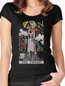 Tarot - The Tower (black tees only) Women's Fitted Scoop T-Shirt