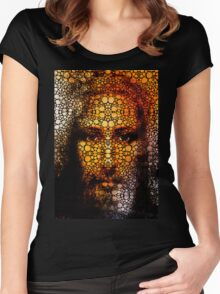 Savior - Stone Rock'd Jesus Art By Sharon Cummings Women's Fitted Scoop T-Shirt