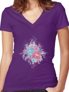 Tender Floral Bouquet Women's Fitted V-Neck T-Shirt