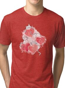 Love Cats Abstract Watercolor Tri-blend T-Shirt