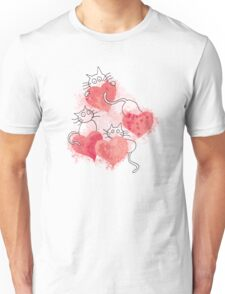 Love Cats Abstract Watercolor Unisex T-Shirt