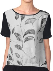 Red and Green Leaves! Romantic Silver Grey! Chiffon Top