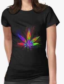Colourful Weed Leaf Womens Fitted T-Shirt