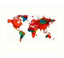 World Map 12 - Colorful Red Map by Sharon Cummings Art Print