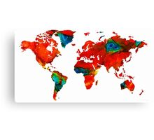 World Map 12 - Colorful Red Map by Sharon Cummings Canvas Print