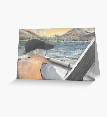 Chalk Pastel 8x10 Brother Fishing Greeting Card