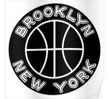 Brooklyn New York Black White Basketball NYC Poster