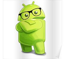 android logo glasses cool programming Poster