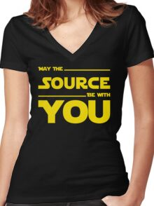 May The Source Be With You - Stars Wars Parody for Programmers Women's Fitted V-Neck T-Shirt