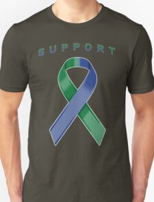 Green & Blue Awareness Ribbon of Support Unisex T-Shirt