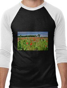 Poppy Field Near Cividale Men's Baseball ¾ T-Shirt