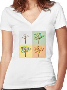 one tree, the four seasons Women's Fitted V-Neck T-Shirt