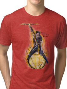 Nikola Tesla Riding The Light Bulb transparent background Tri-blend T-Shirt