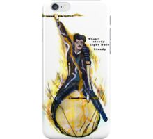 Nikola Tesla Riding The Light Bulb transparent background iPhone Case/Skin