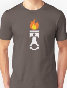 Flaming Piston (fire wht) Unisex T-Shirt