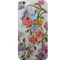 PAW-SCH - RED BIRD HOUSE HIDING IN THE FLOWERS iPhone Case/Skin