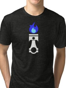Flaming Piston (nitrous white) Tri-blend T-Shirt