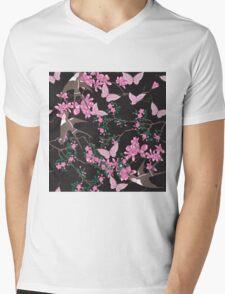 Oriental birds, flowers and butterflies Mens V-Neck T-Shirt