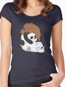 Sleeping Bare Bears - White Women's Fitted Scoop T-Shirt