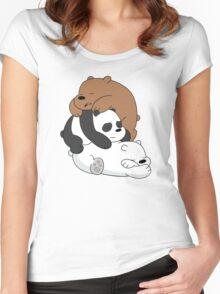 Sleeping Bare Bears - White Women's Fitted Scoop T-Shirt