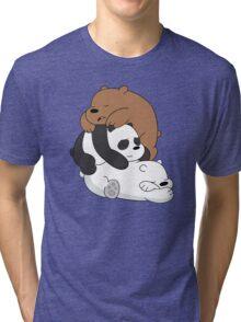 Sleeping Bare Bears - White Tri-blend T-Shirt