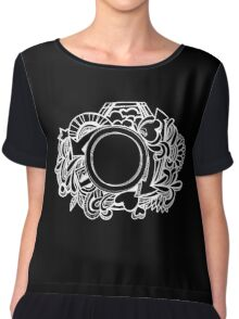White Camera Doodle Graphic on Black Chiffon Top