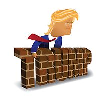 cartoon of Donald Trump behind a brick wall. Photographic Print
