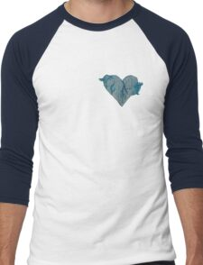 Blue Ink Heart Men's Baseball ¾ T-Shirt