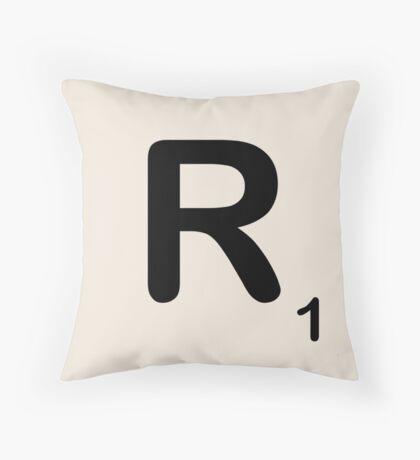 Scrabble Tile R Throw Pillow