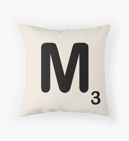 Scrabble Tile M Throw Pillow