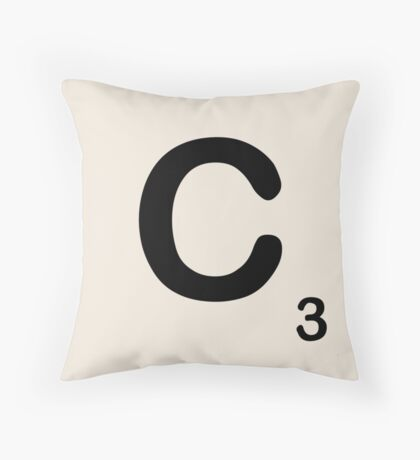 Scrabble Tile C Throw Pillow