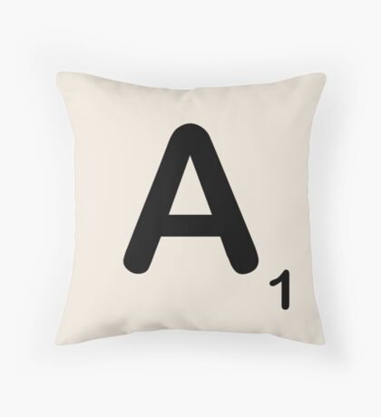 Scrabble Tile A Throw Pillow