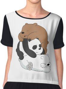 Sleeping Bare Bears - White Chiffon Top