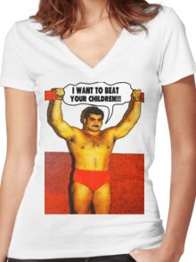 Funny Sayings - I Want to Beat Your Children Women's Fitted V-Neck T-Shirt