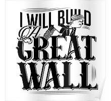 cartoon of Donald Trump claiming he will build a great wall Poster