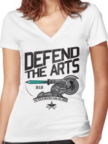 Defend The Arts! Women's Fitted V-Neck T-Shirt