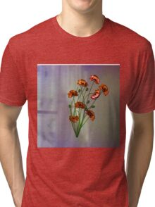 Wall flower with textured colour background Tri-blend T-Shirt