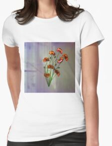 Wall flower with textured colour background Womens Fitted T-Shirt