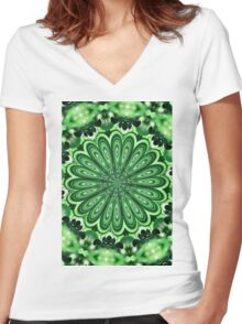 Mystery Green Puzzle Women's Fitted V-Neck T-Shirt