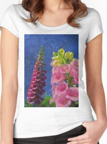 Two Foxglove flowers with textured background Women's Fitted Scoop T-Shirt