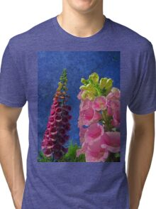 Two Foxglove flowers with textured background Tri-blend T-Shirt