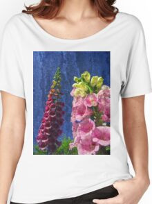 Two Foxglove flowers on texture reaching for the sky. Women's Relaxed Fit T-Shirt
