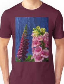 Two Foxglove flowers on texture reaching for the sky. Unisex T-Shirt