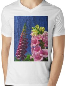 Two Foxglove flowers on texture reaching for the sky. Mens V-Neck T-Shirt